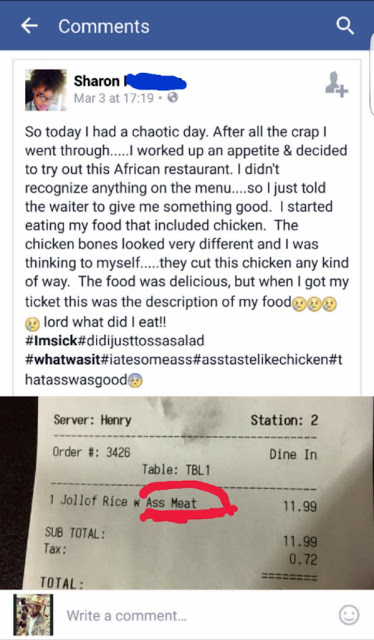 Read the Reaction of an African American Lady who Ate at A Nigerian Restaurant for the First time
