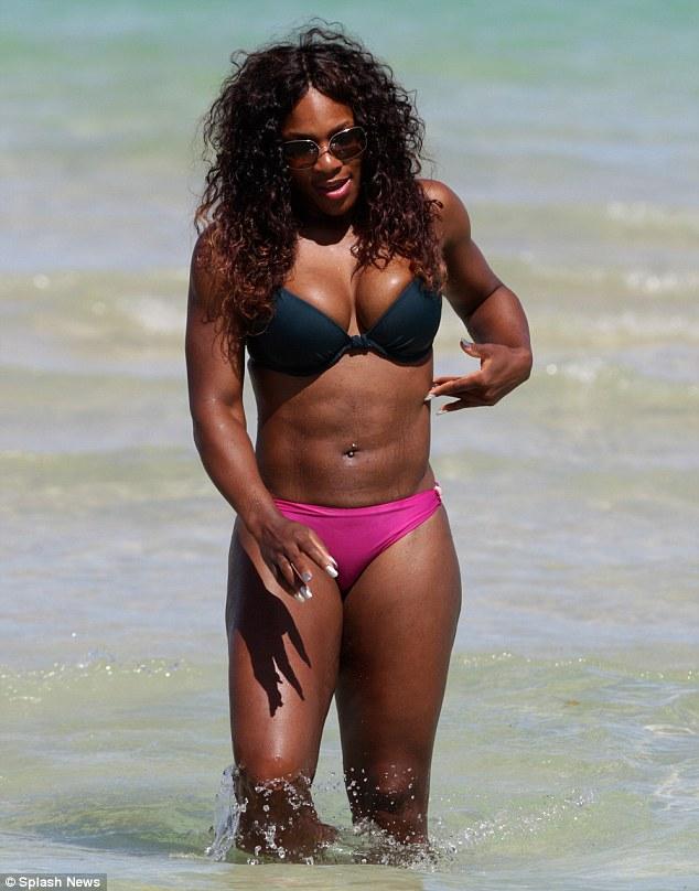 Serena in Blue and Pink Bikini