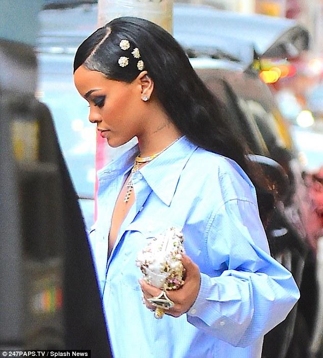 Rihanna Stunningly Sexy in Miu Miu Blue Shirt
