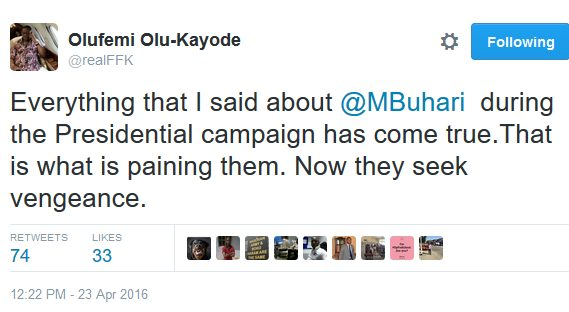 FFK Tweets says all the Things he Said about Buhari had come to Pass