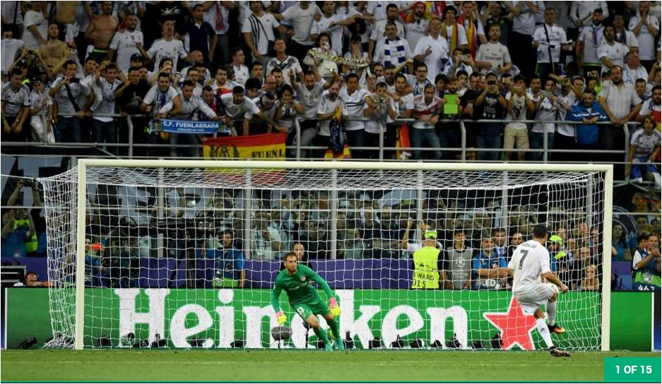 Cristiano Ronaldo Scoring the Decisive Penalty at  2016 Champions League in San Siro Italy