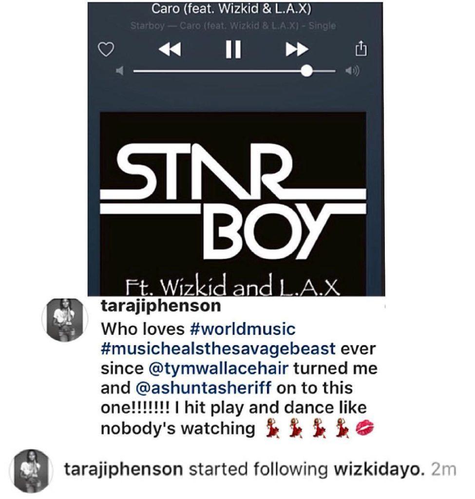 Empire Star Actress, Taraji P. Henson aka Cookie Lyon follows Wizkid on Instagram