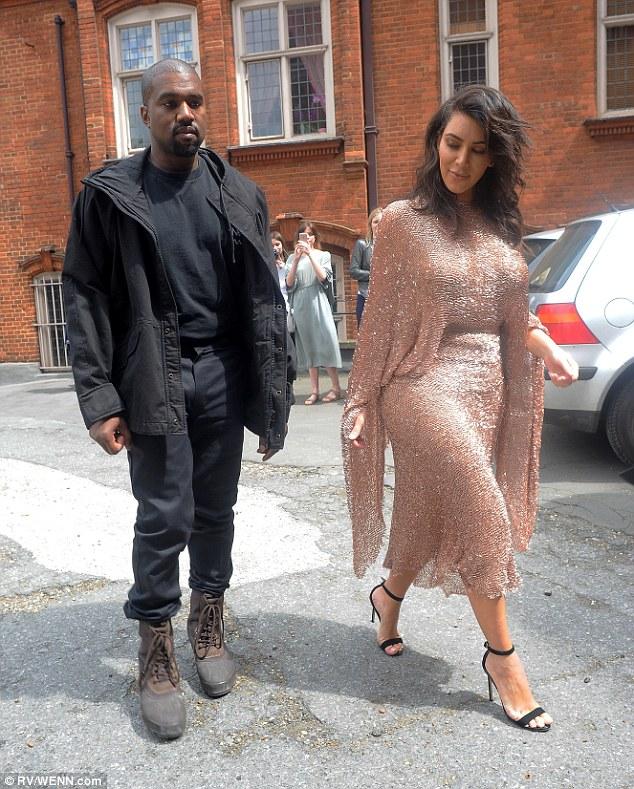 Kim Kardashian and Husband Kanye West arrives Vogue Festival in London