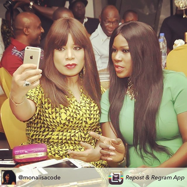 Nollywood Actress Stephanie Linus Takes a Selfie with Monalisa Chinda