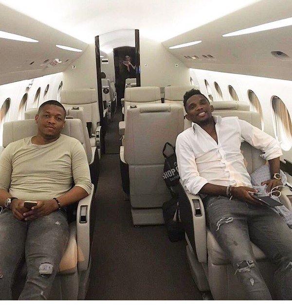 Samuel Eto'o Fils Arrives Port Harcourt In Private Jets Ahead of Joseph Yobo's testimonial match