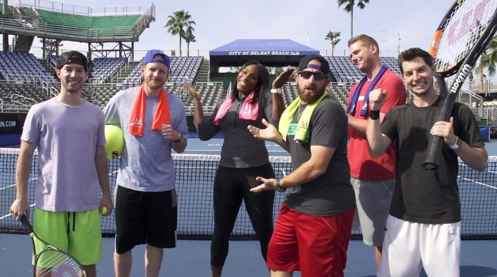 Serena Williams Hits Amazing Trick Shots with Dude Perfect (Video)