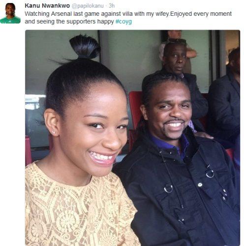 Kanu Nwankwo shares cute Photo of his wife at Emirates Stadium London