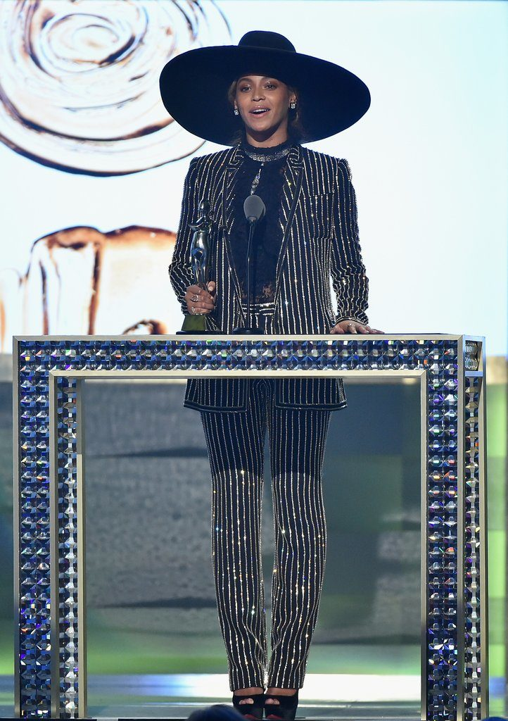 Beyoncé Attends the CFDA Fashion Awards In NYC Unannounced, Stunning in a Pinstriped PantSuit