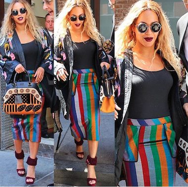 Beyoncé Slays in multi-color Striped Skirt as she steps out in NY/Raises $82,000 For Victims Of Flint Water Poisoning