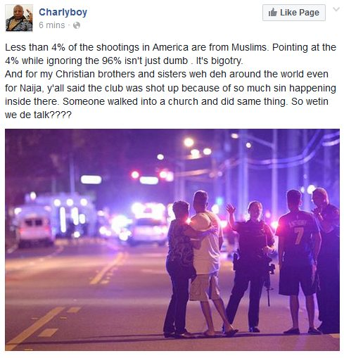Charly Boy Less than 4% of the shootings in America are from Muslims