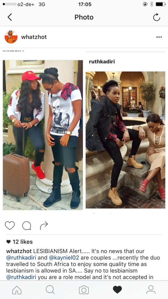 Lesbianism Alert, Is actress Ruth Kadiri now a Lesbians as she was seen at the Airport in South Africa