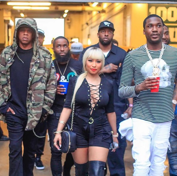 Nicki Minaj and Her boyfriend Meek Mill with Jay Z attend Beyonce Formation Concert in Philly