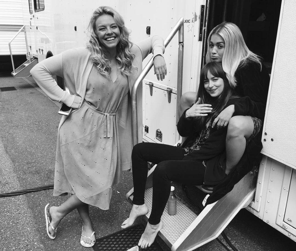 Rita Ora hang out with Dakota Johnson on Set of Fifty Shades Of Grey