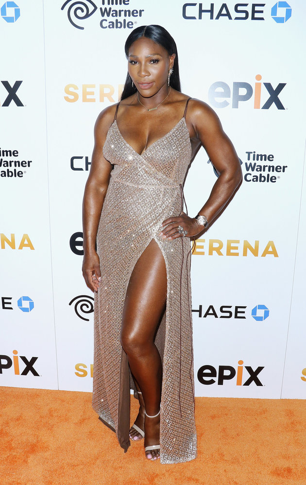 Serena Williams Sexy hot in a Golden High Slit Dress at the World Premiere of her Documentary