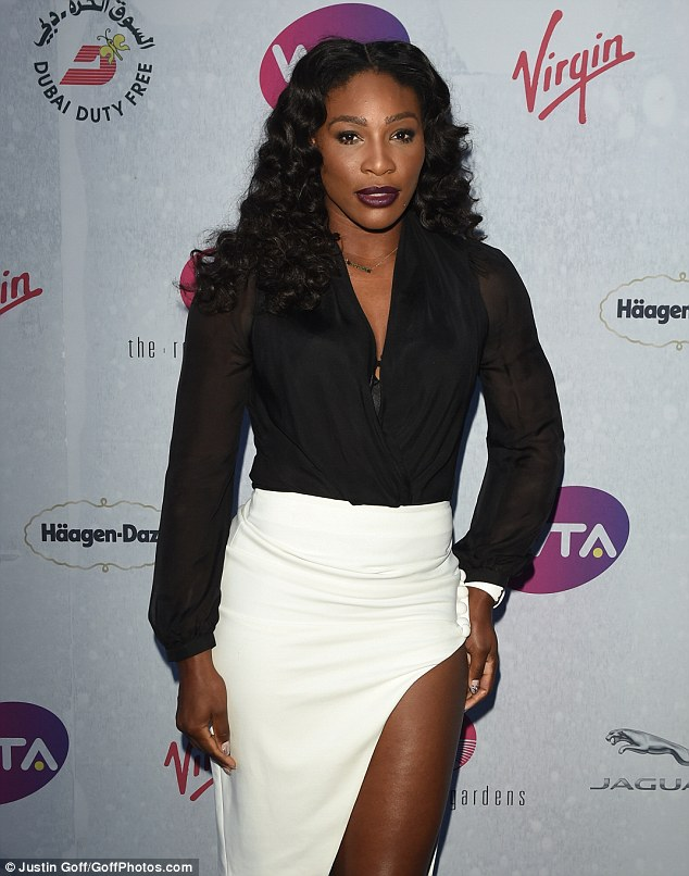 Serena Williams displays her Raunchy side as she appears Hot in a Daring Thigh-Split white Skirt for Wimbledon Pre-party Bash in London