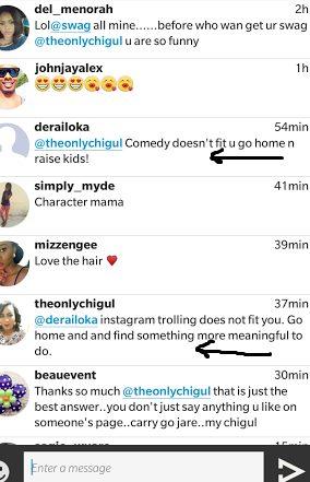 Comedienne ChiGul replies  Instagram troll in a classic Manner