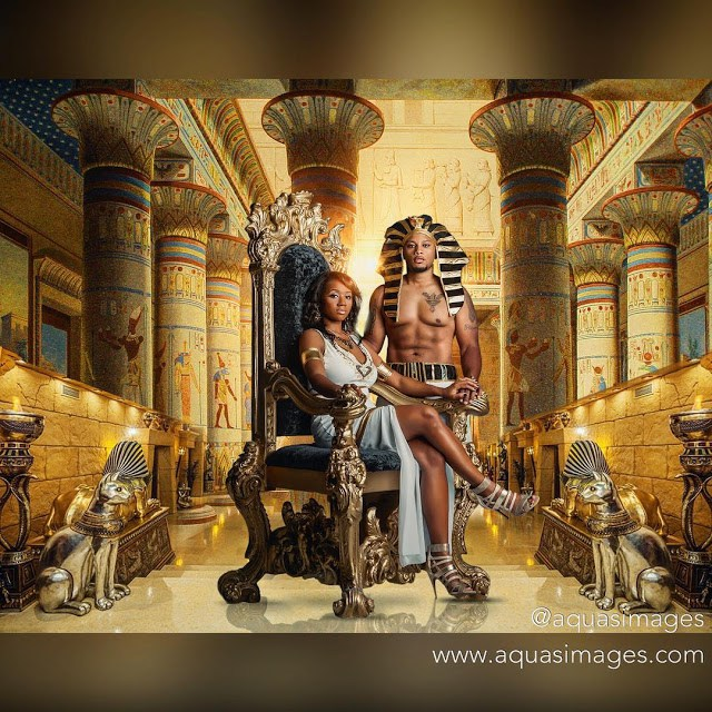 Couple dressed as Egyptians in Pre-wedding pictures