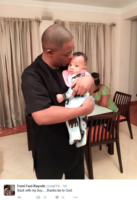 Femi Fani Kayode Joyous as he holds his son again after 2 month in Ikoyi Prison
