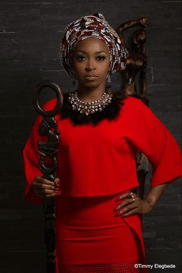 KATE HENSHAW Hot like that in Multicolored African Dress Photoshoot