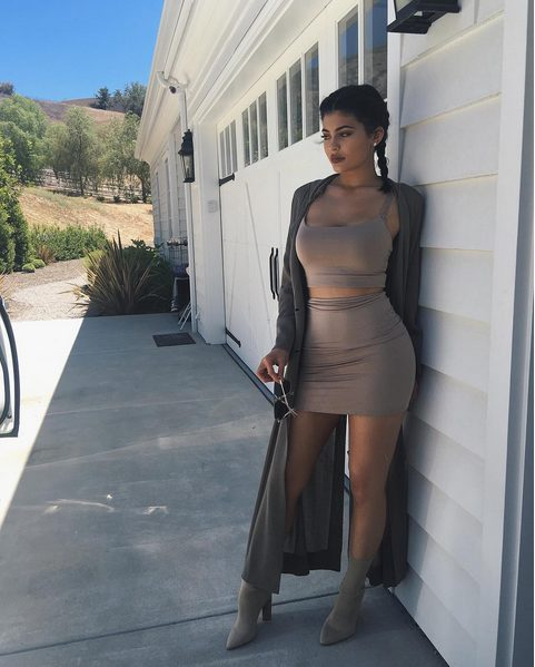 Kylie Jenner Sexy in a Brown Spaghetti Top and Mini Skirt While showing off her Scare