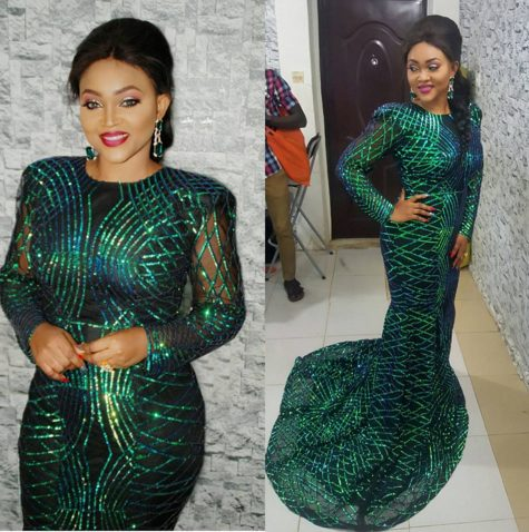 Mercy Aigbe Gentry Sexy Hot in Green and Black Dress By Luminee on the Red Carpet of City People Awards 2016