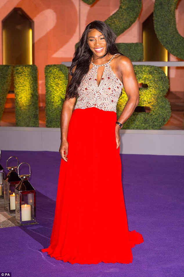 Serena Williams Sexy Hot In Red Laced Gown as she Attends Wimbledon 2016 Champions Dinner