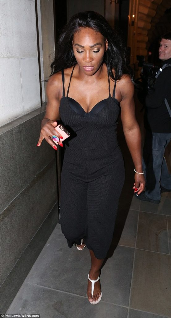 Serena Williams wows in a racy black jumpsuit as she celebrates with a Wild Party