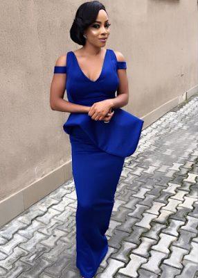Toke Makinwa stuns in Blue Dress as she celebrates her Mum's 70th Birthday
