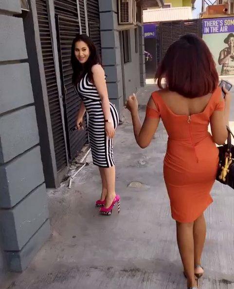 Caroline Danjuma flaunts her impressive derriere by cat-walking