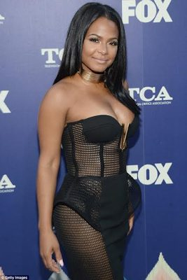 Christina Milian Sexy Hot in a Risque See Through Black Sheer Netted Dress