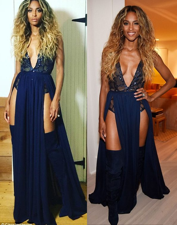 Ciara Poses in a Risque Cleavage Baring plunging Blue Dress at Apollo in Hampton