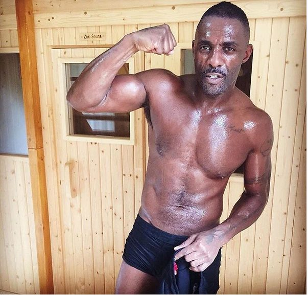 Idris ELba shows of his Six packs and Egg plant has he Prepares for a fight