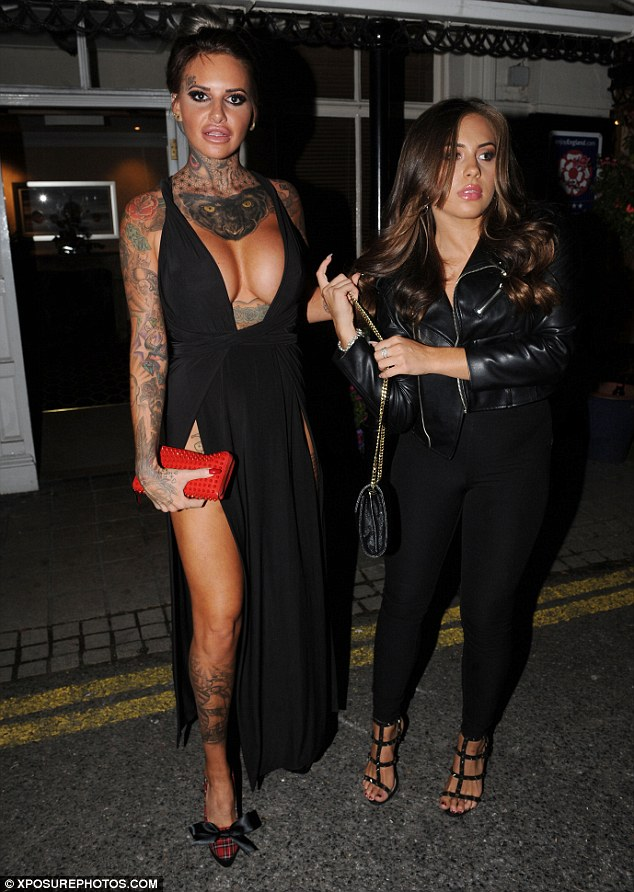 Jemma Lucy  puts her Ample Cleavage on Display in a extreme plunging dress while partying with glam pal Ashleigh Defty