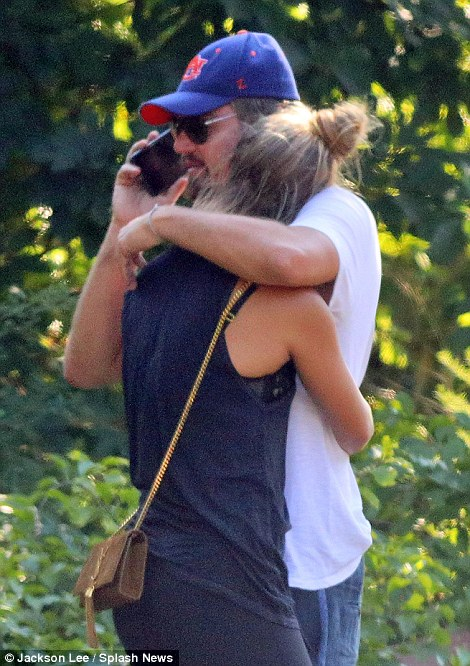Leonardo DiCaprio Embraces and comforts his girlfriend Nina Agdal after his Range Rover gets rear-ended