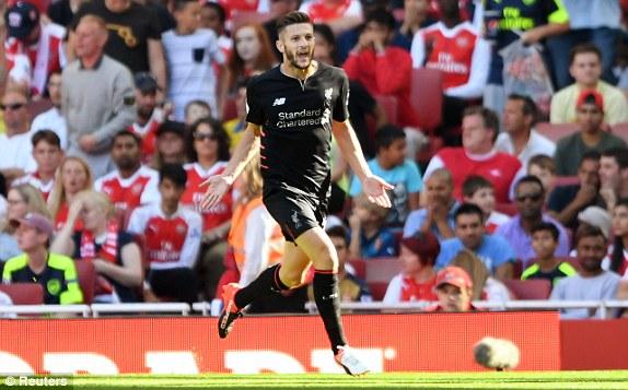 Adam Lallana scores against Arsenal