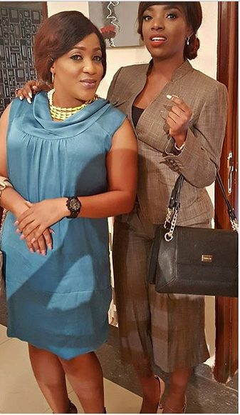 Lovely photo of Annie Idibia and Grace Amah on set of a New Movie