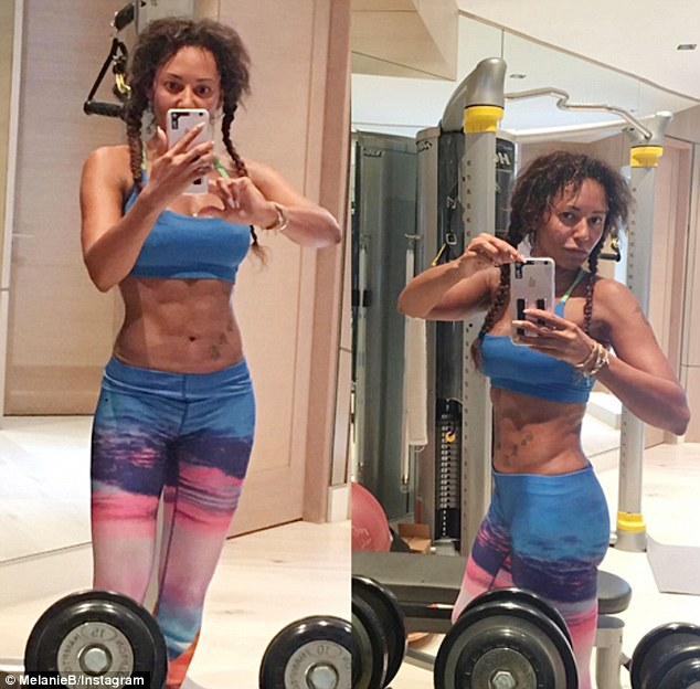 Mel B Flaunts her Abs as she shows off her Toned Body and Six Packs