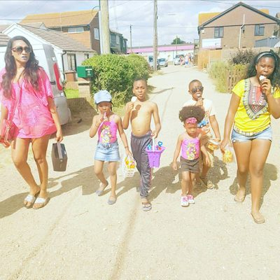 Nollywood Actress Oge Okoye Visits the Beach with her Kids