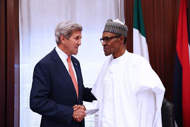 President Buhari Welcomes US Secretary of State John Kerry at Aso Villa in Abuja
