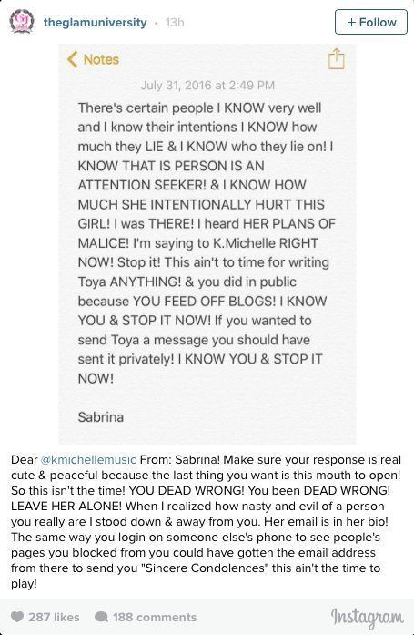 Sabrina Peterson blast K Michelle after she sent her  heartfelt condolences to Toya Right, calls her  an nasty ans evil person