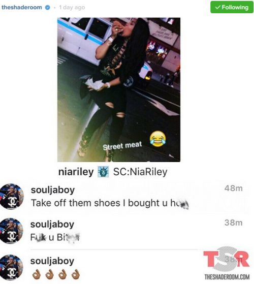 Soulja Boy and his girlfriend Nia Riley Drag each other name on instagram