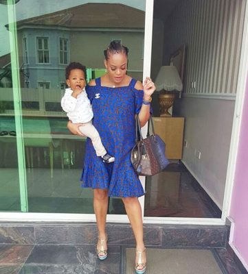Adaeze Yobo shows of her baby Bump in sexy blue Dress