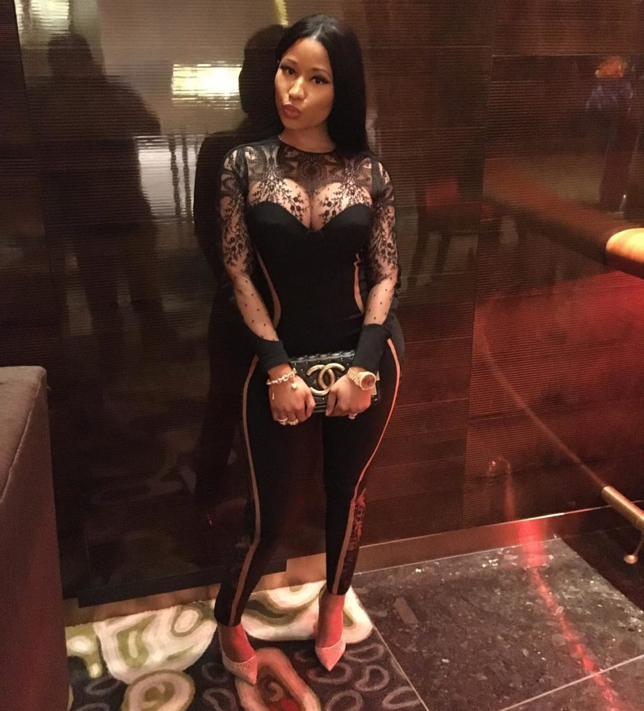 Nicki Minaj super Hot in a black risque Jumpsuit as she parties in Vegas