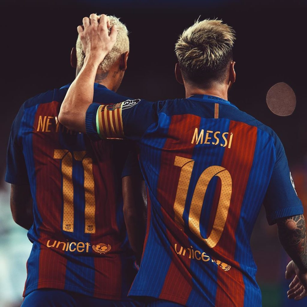 Photo of Neymar and Messi with their White dyed Hair During the Champion League Match against Celtic