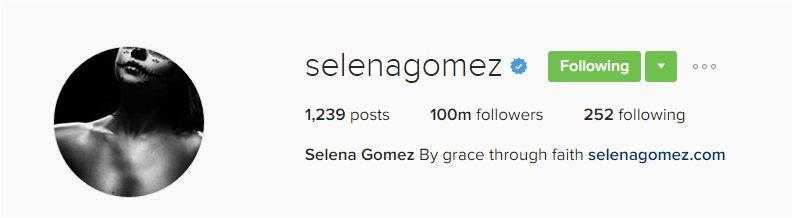 Selena Gomez hits 100 million Instagram followers