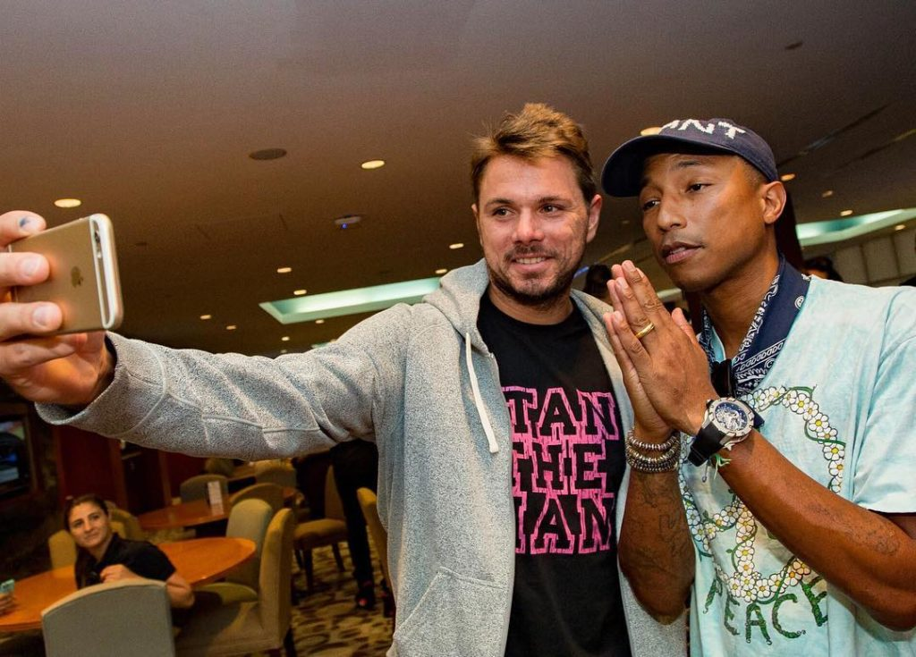 Stan Wawarinka takes a Selfie with Pharrell Williams