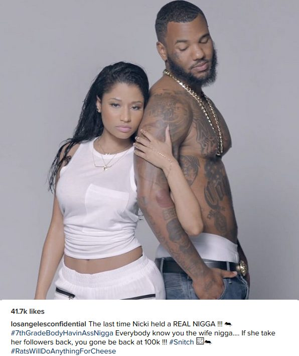The Game Disses Meek Mill by sharing a Photo-shoot Photo of him and Nicki Minaj