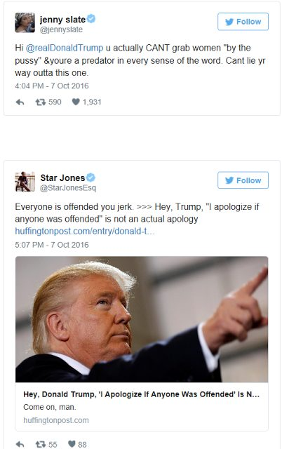 Read Hollywood Celebrity Reactions on Twitter after graphic 2005 Donald Trump and Billy Bush conversation leaks