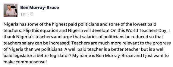 Senator Ben Murray-Bruce Shades Nigerian Politicians says  'Teachers are more relevant to the progress of Nigeria than politicians'