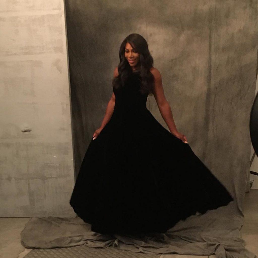 Serena Williams Slays like a Queen in a black Armani Dress